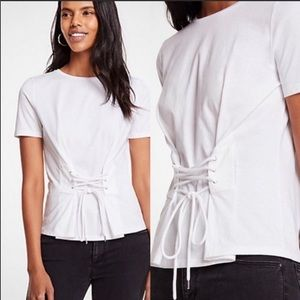 Ann Taylor Corset Lace Up top